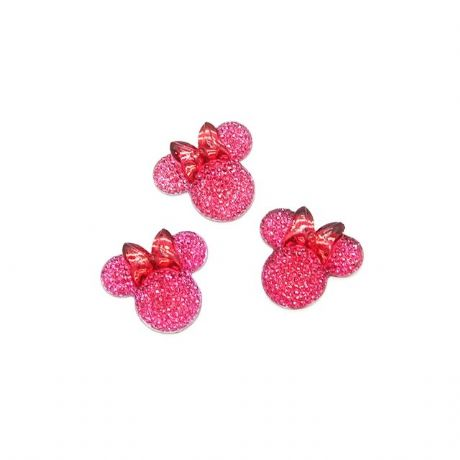 5 x 28MM GLITTER HOT PINK MINNIE MOUSE HEAD + BOW FLAT BACK RESIN HEADBANDS HAIR BOWS